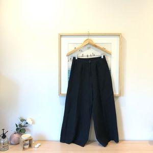 Black linen wide pants